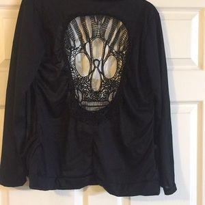 Jackets & Blazers - Black Jacket with Skull on Back 2 Pockets Silky
